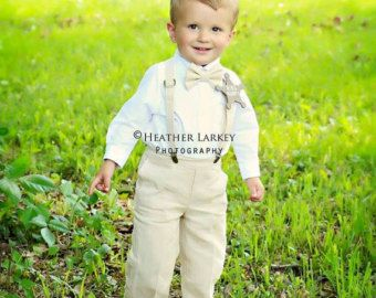 Linen Ring Bearer 4 Piece Set Ring Bearer Bowtie by TwoLCreations