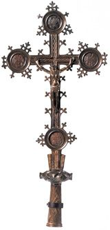 Medieval processional cross from the site of the Battle of Bosworth Field;  found about 1778 on the battle site in Leicestershire where, in 1485, Richard III was defeated by Henry Tudor.