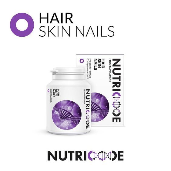 Nutricode Hair Skin Nails Code: 801005 Visit the WebShop: http://membersfm.com/michelle-brandon Capacity: 56 COATED TABLETS (44.8g) FOOD SUPLEMENT which is a perfect composition of ingredients to achieve strong, shiny hair, velvety skin and healthy nails.  - Pro-Beauty formula - pomegranate extract