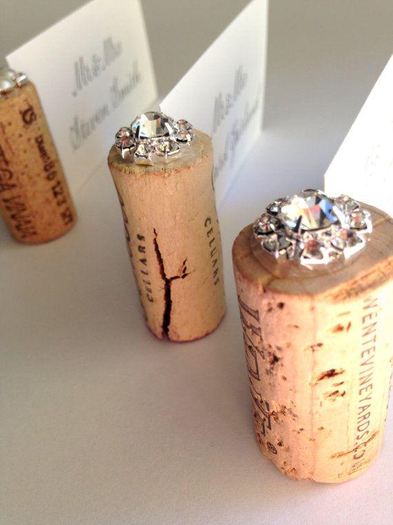 Wine Cork Place Card Holder Hollywood Glam by KarasVineyardWedding
