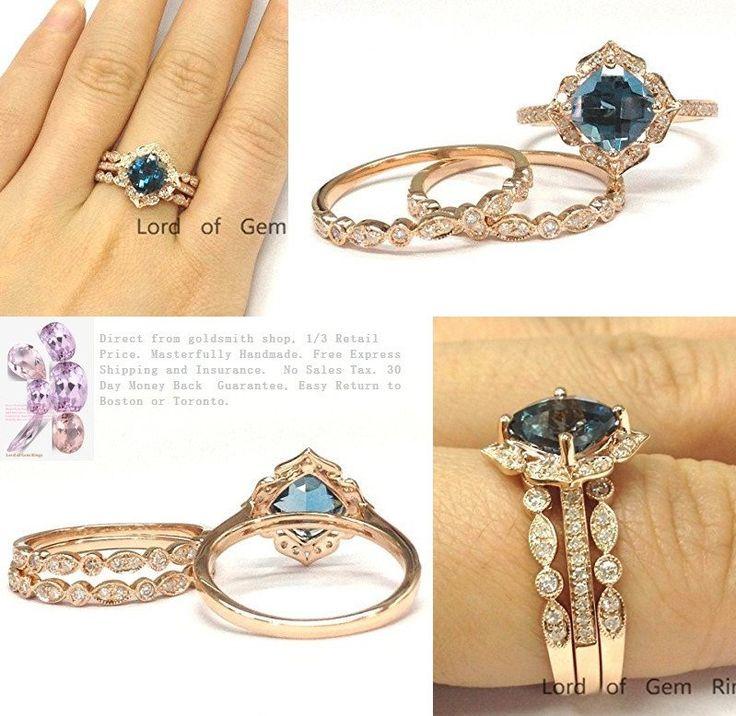 Cushion London Blue Topaz Engagement Ring Trio Sets Pave Diamond Wedding 14K Rose Gold,8mm,Art Deco Bands