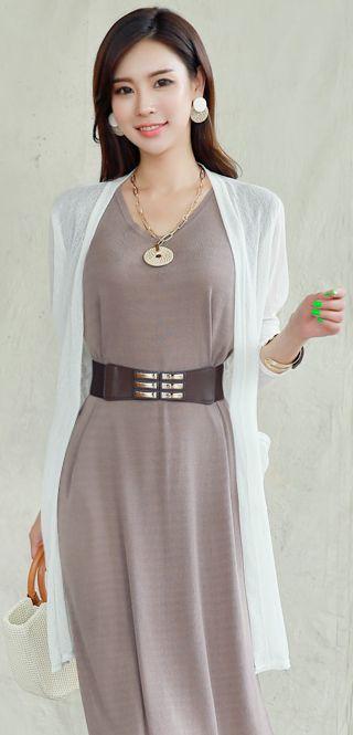 StyleOnme_Floral Lace Back Detail Open-front Long Cardigan #white #cardigan #koreanfashion #kstyle #kfashion #seoul #summerlook