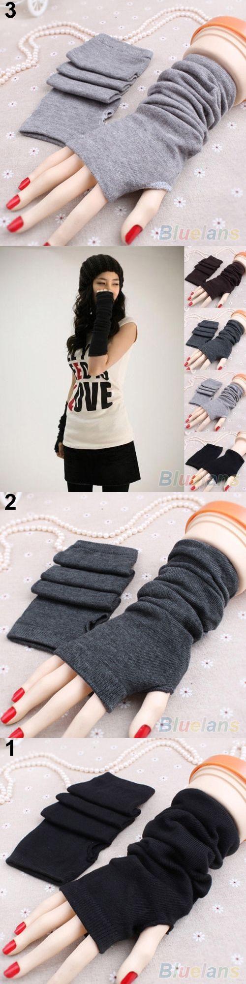 2016 Women Fashion Knitted Arm Fingerless Long Mitten Wrist Warm Winter Gloves 8OKE