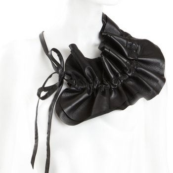 Raffeal Neckpiece, by Sally Phillips. This dramatic ruched leather neckpiece can be worn loose or tight. Ahalife.com