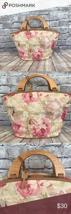 Image result for pink floral clutch bag wooden handle
