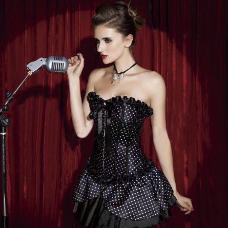 Womens Black Polka Dot Burlesque Costume