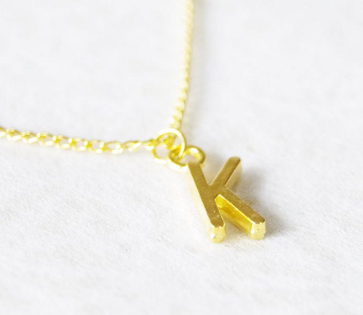 Personalized Necklace / Gold Letter Pendant Necklace / Initial Charm Necklace / Letter Charm Jewelry by SmittenKittenKendall on Etsy
