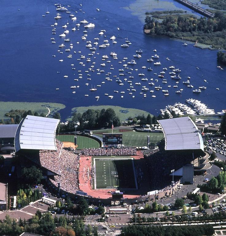 University of Washington Huskies - University of Washington – Husky Stadium – with game day navy tailgating in background