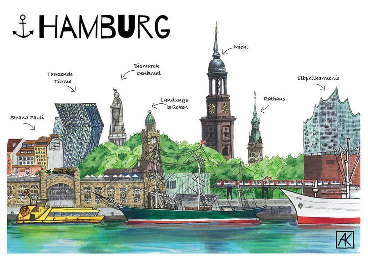 Illustrationen Galerie Malerei Kulzer Hamburg Hamburg Hafen Retroposter