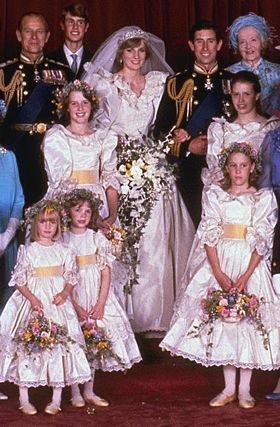 In 1981 Princess Diana's wedding dress and all her bridesmaids dresses...I was 11 at the time and will never forget how much I looked up to Diana.
