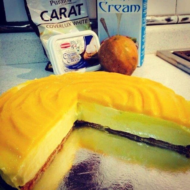 white chocolate and mango cheesecake.