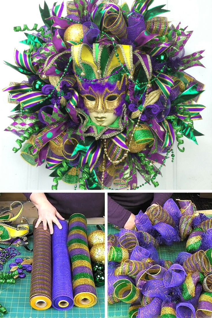 How to make a festive Mardi Gras door wreath by www.southerncharmwreaths.com/blog