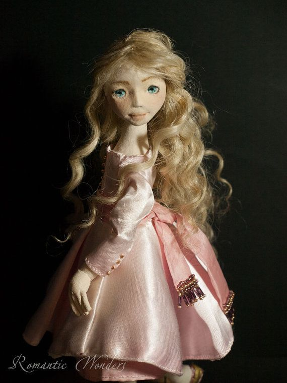 Celine. Textile handmade doll. One of a kind by Romantic Wonders