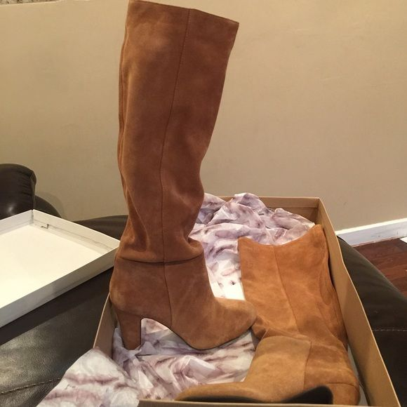 "Knee high boot SALE Chestnut suede pull up knee high 3.5"" inch heel boot. Brand new  box is crushed Jessica Simpson Shoes"
