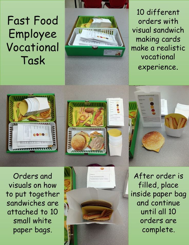 Fast Food Employee is a vocational task that shows students how to put together food orders. Studenst will follow orders with the use of visual aids when preparing them. As shown in preview, the student will take one order at a time and build the sandwich indicated along with packing the sides in the containers. To increase fine motor skills you can provide a set of tongs or tweezers to place the sides in each container.