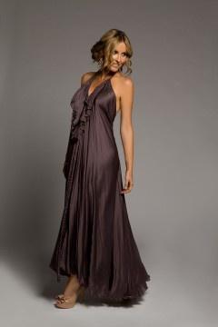 Lisa Brown Poppy V-Frill Silk Habitue Truffle Dress
