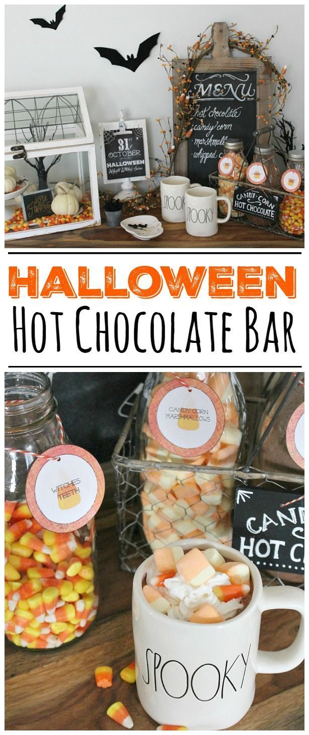 Halloween Hot Chocolate Bar with free printables. Such a cute Halloween…