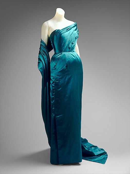 ~Evening dress Jacques Fath (French, 1912–1954) Design House: House of Jacques Fath (French, founded 1937) Manufacturer: Textile by Bianchini-Férier (French, founded Lyons, 1888) Date: 1951 Culture: French Medium: silk~