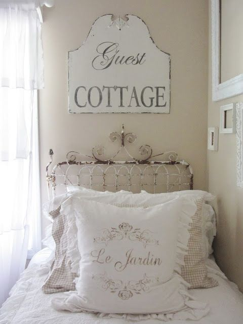 Junk Chic Cottage fence gate as head board!  Two of them will work for a queen or king bed.  Love, love, love this!!!!
