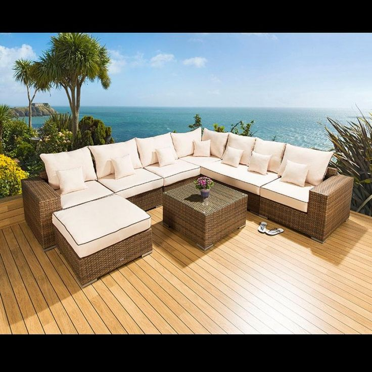 luxury outdoor garden l shape corner sofa setgroup brown rattan 26 brown truly