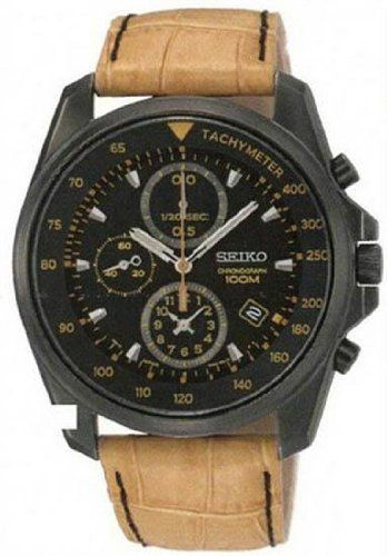 Seiko Chronograph Black Dial Black PVD Tan Leather Mens Watch SNDD69 Seiko. $154.74. Chronograph Display. Round Pvd Stainless Steel Case. Quartz. Water Resistance : 10 ATM / 100 meters / 330 feet. Steel Bracelet Strap