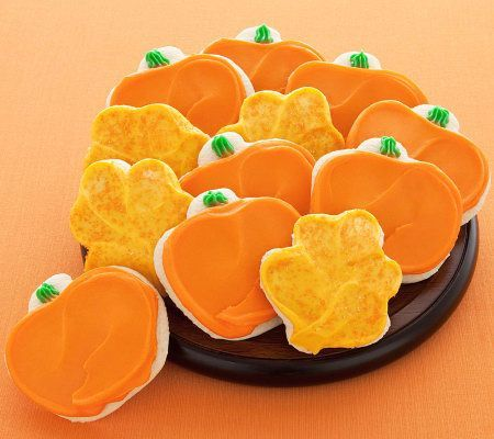 Product image of Cheryl's 24 Buttercream Frosted Leaf/Pumpkin Shaped Cookies