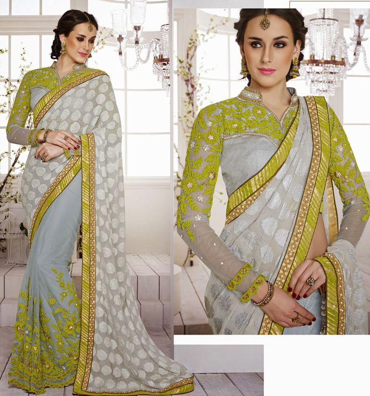 Awesome Ash Grey Embroidered Saree