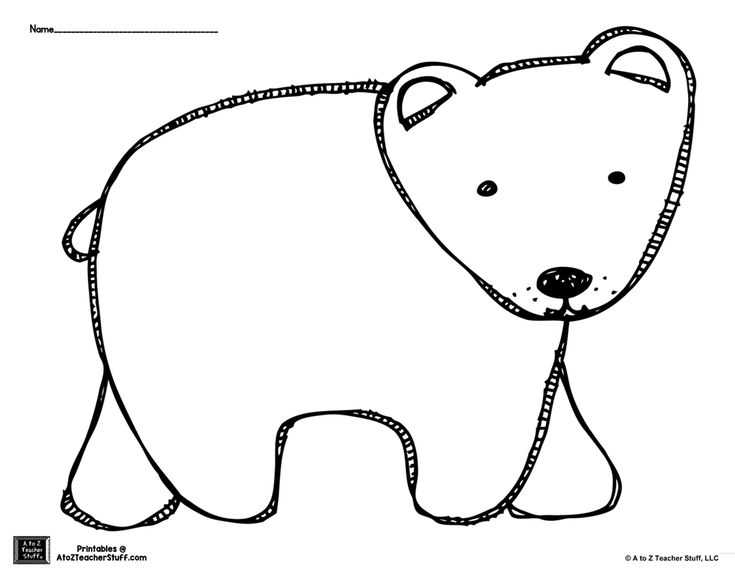 brown bear or polar bear coloring page or pattern free