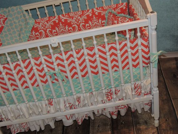 Custom Created Aqua and Coral Crib Bedding by SimplySassynSweet, $425.00