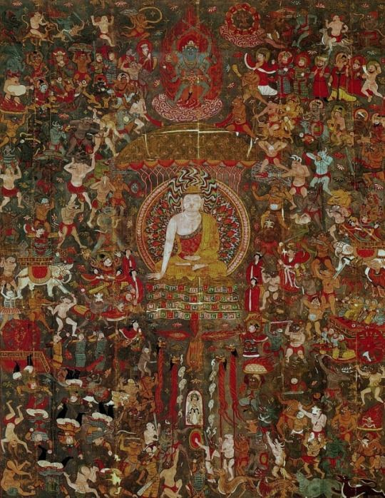Sakyamuni's Temptation by Mara. Fresco, Dunhuang Caves. 900s.