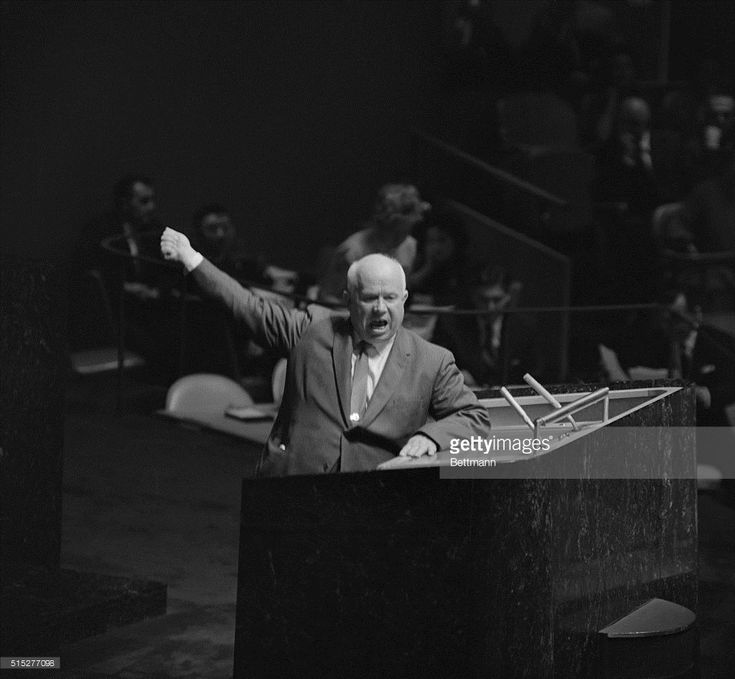 Gesturing and shouting, Soviet Premier Nikita Khrushchev addresses the United Nations General Assembly, October 12th. The Soviet Premiere rose on a point of order during a speech by Senator Lorenzo Sumulong, of the Philippines. Khrushchev demanded that Assembly President Frederick Boland halt Sumulong's speech.