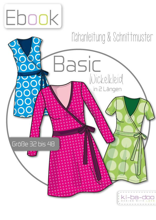 Ebook  Damen Basic Wickelkleid - Schnittmuster und Anleitung als PDF, versandkostenfrei