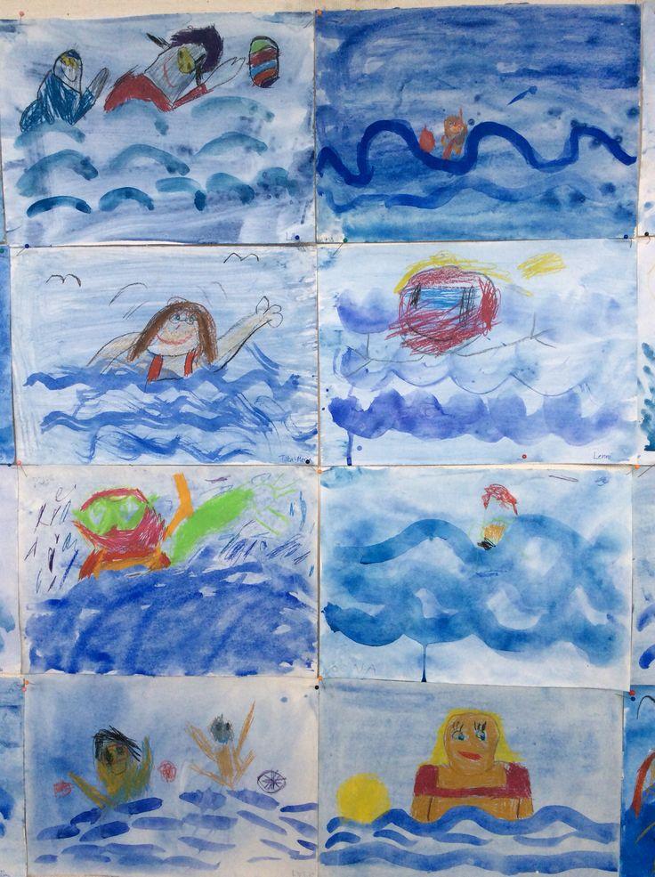 Kesäiset uimarit 1b-luokan maalaamina