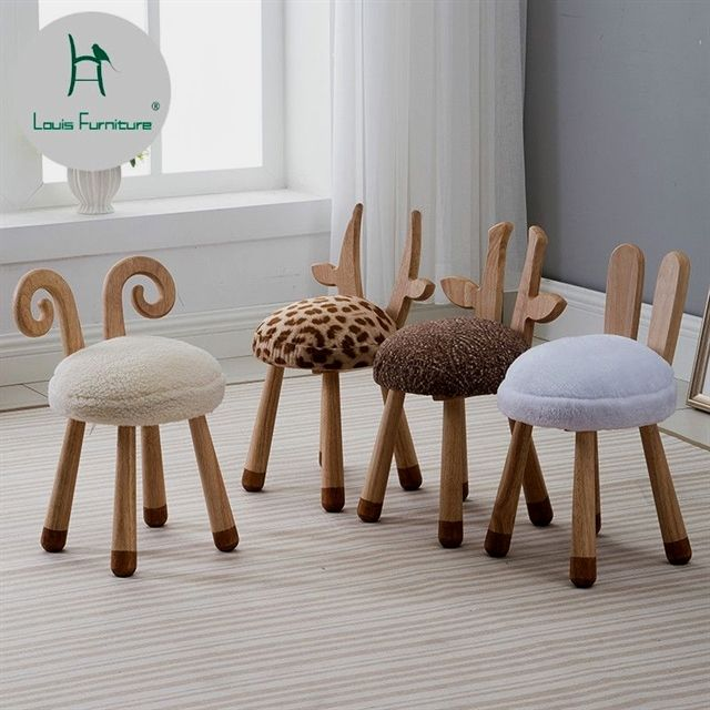 Louis Fashion Children's Stools Modern Nordic Solid Wood Creative Furniture Baby Chair Washable Cute Cute Dwarf Animals