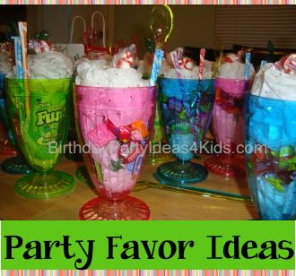 Birthday Party Favor Ideas:  Fill a tall plastic ice cream glasses that we found for $1.00 with candy. Place white tissue paper inside the glass (ours had glitter which made it look like sprinkles) and place candy inside the glasses.  Add a ice cream spoon, pixie sticks (for straws) and a red and white candy on top for a cherry.