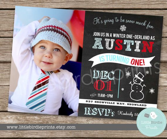 WINTER ONEDERLAND Invitation Chalkboard by littlebirdieprints, $16.50
