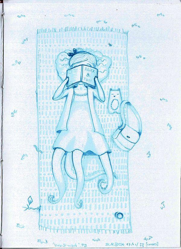 """Vida simple. Escuchando """"Vida Simple - Francisco Bochatón"""", noviembre 2014. Sketchbook+lápiz azul."""