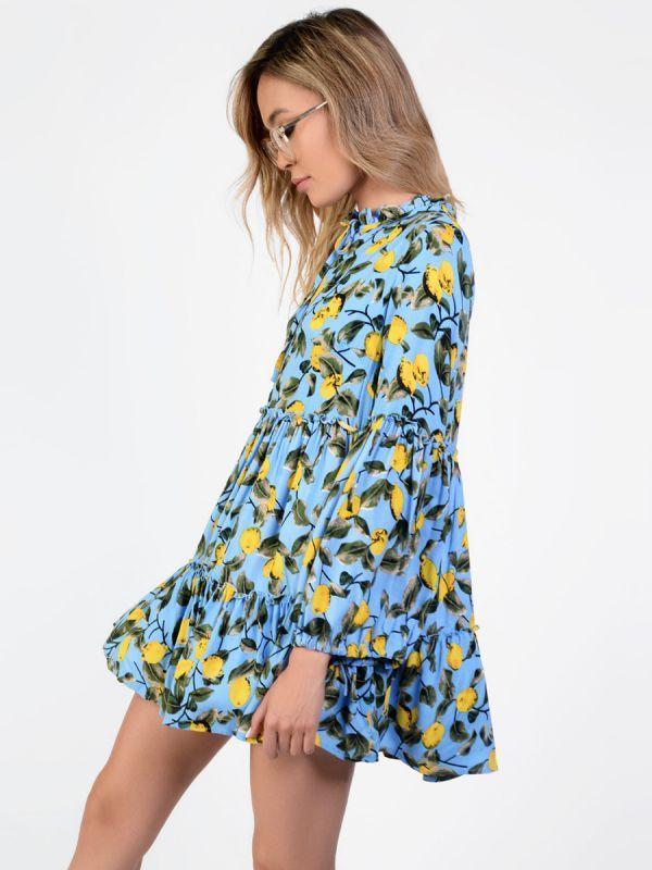 Lemon print smock dress