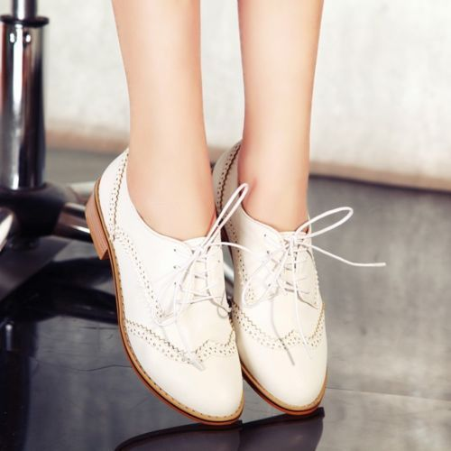 Vintage-Womens-Wing-Tip-Lace-Up-Brogue-Chelsea-Oxfords-College-Shoes-Plus-Size