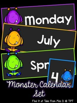 Organise your classroom with this bright and colourful monster themed calendar! Includes; 1) Days of the Week cards 2) Months of the Year c...