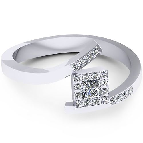 Inelul este realizat din: 1 x diamant, dimensiune: ~3.00mm, culoare: G, claritate: SI1, forma: princess; 20 x diamant, dimensiune: ~1.00mm, forma: round