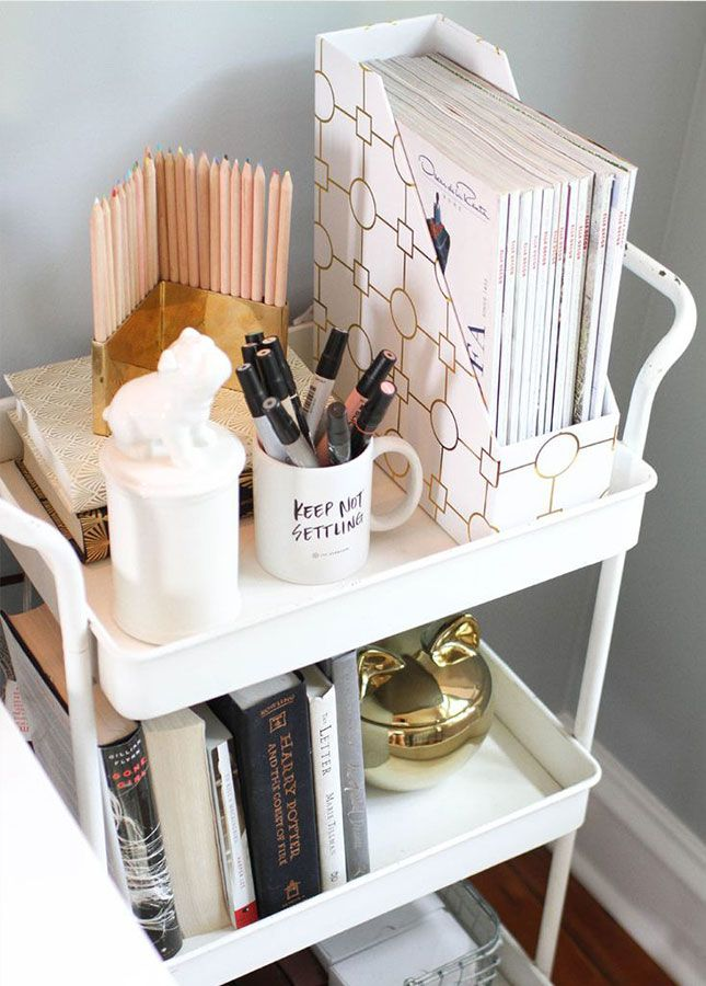 Use a cart to organize your workspace essentials.