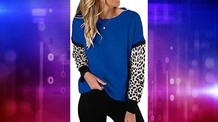 Sweatshirt for Women Long Sleeve Popular Leopard Round Neck Loose Pullover Blouse Evangelia.YM
