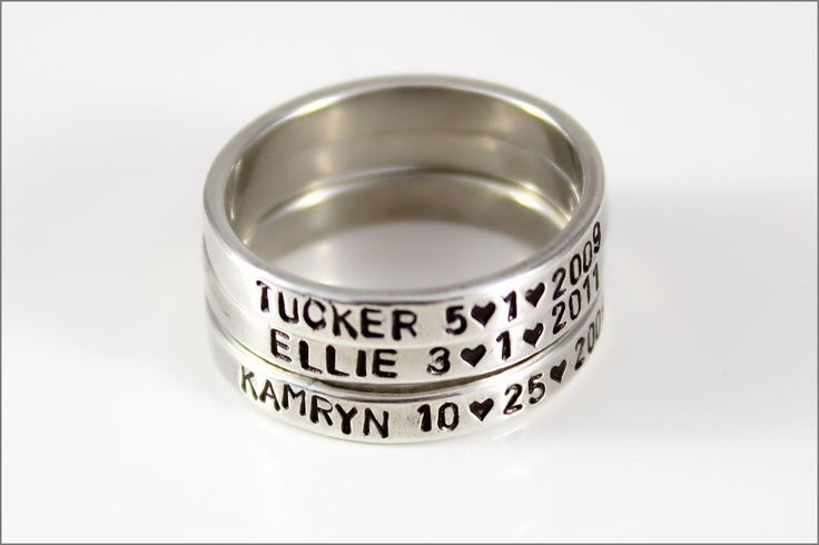 Stackable Mommy Rings | Personalized Silver Ring, Custom Name Ring, Sterling Silver Rings