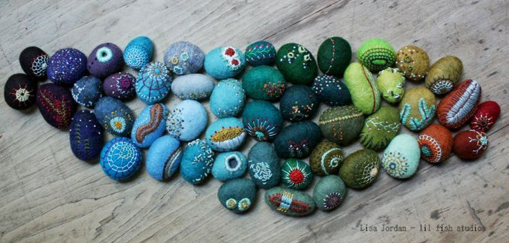 felted and embroidered stones by Lisa Jordan of lil fish studios