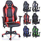 TRESKO Chaise Fauteuil siège de bureau racing sport ergonomique dossier réglable en continu de 6 couleurs différentes (noir/rouge)