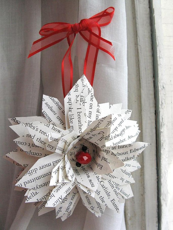 Teen Christmas Ornament Craft Library Book Pages