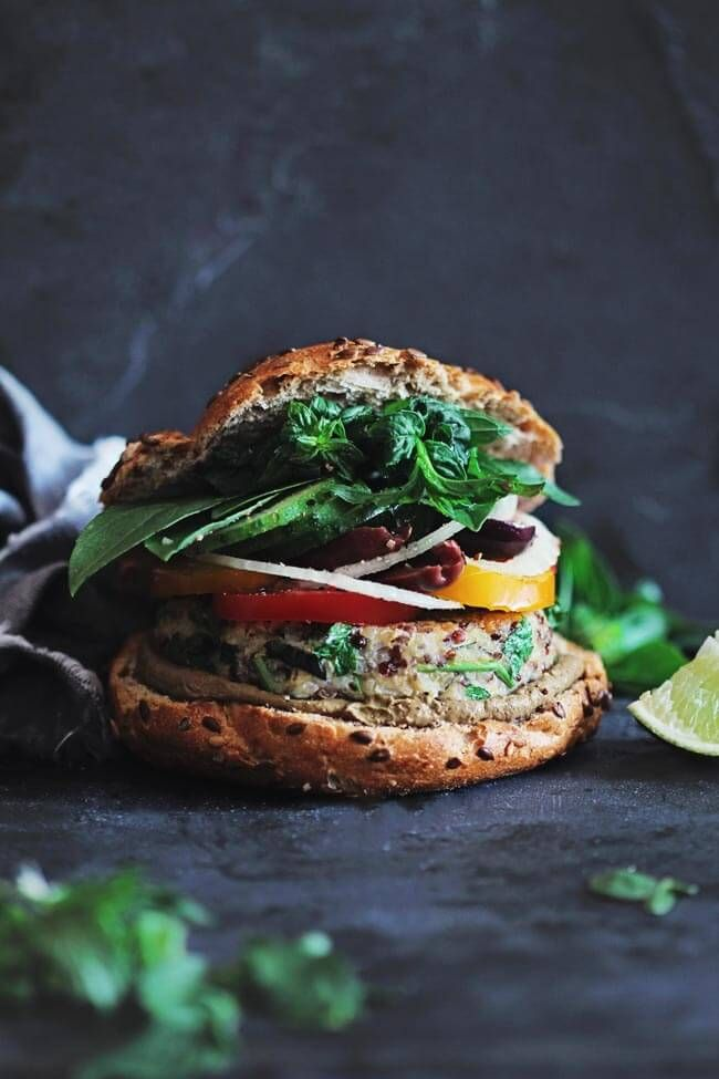 Summer sandwich with quinoa patties and fresh aromatic herbs | The Awesome Green