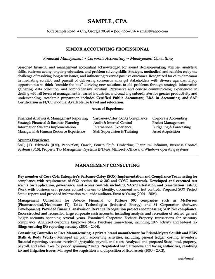 Senior Accounting Professional Resume http//topresume