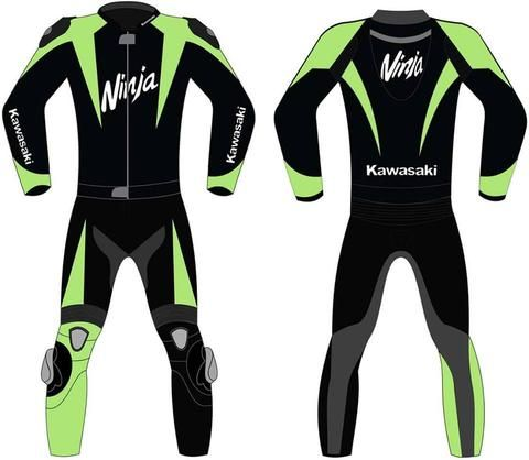 Green and black ninja motorcycle leather suit